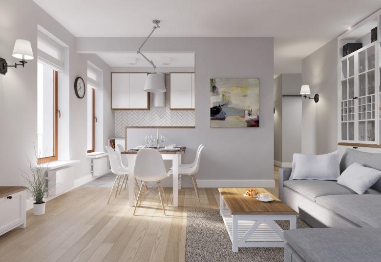 Polska aranżacja pastelowego mieszkania z dominującą bielą i szarością, subtelnie uzupełniona drewnem :)