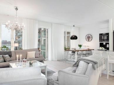 Subtelna mieszanka w jednym mieszkaniu, czyli jak połączyć styl nowoczesny, skandynawski i klasyczny w odcieniach bieli i szarości - zakupy online