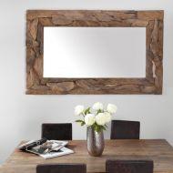 Drewniane lustro w rustykalnym stylu