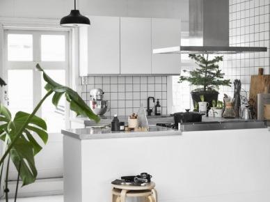 Biała kuchnia ze stalowym okapem nad ladą z zieloną małą choineczką świąteczną (47846)