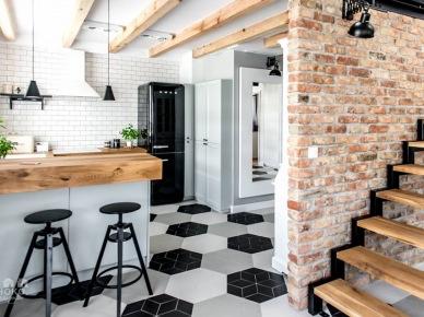 Geometryczna podłoga i drewno w aranżacji kuchni (50092)