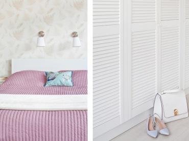 Biała sypialnia zyskuje na wyrazistości dzięki pojedynczym elementom, jak różowa narzuta na łóżko czy błękitna...