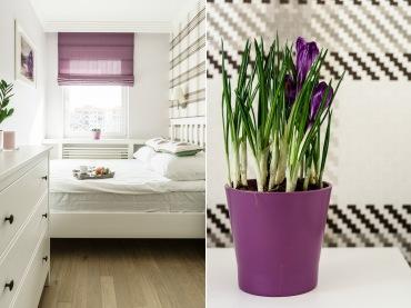 Sypialnię urządzono w stylu prowansalskim, podkreślają jego romantyczny charakter. Pojedyncze kwiaty doniczkowe...