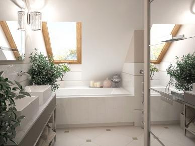 Biało-szara łazienka ze skośną ścianą z oknem i lustrzaną szafą (26048)