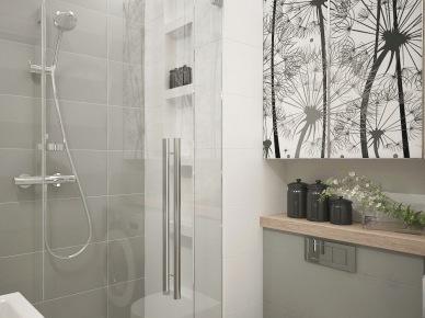 Biało-szara łazienka łazienka z motywem kwiatowym, z detalami z drewna i fototapetą na drzwiach szafek łazienkowych (26024)
