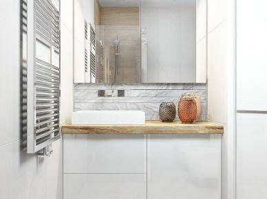 Mała biała szafka z drewnianym blatem pod umywalkę (25478)