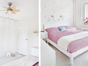 Romantyczna aranżacja sypialni, która bazuje na śnieżnej bieli urozmaiconej różową narzutą na łóżko. Pozostałe elementy...