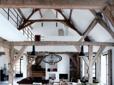 nikt by nie uwierzył, ze wcześnie była w tym miejscu stodoła ! teraz, to piękne, stylowe wnętrze przypomina trochę loft,trochę rustykalne, wiejskie domy i trochę awangardowy apartament - to mieszanka stylów, moja ulubiona...