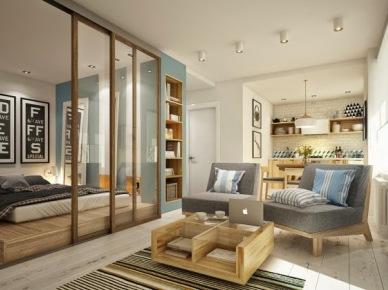 Otwarty salon z kuchnią i sypialnią z przeszkloną ścianą w małym mieszkaniu w stylu skandynawskim (26851)
