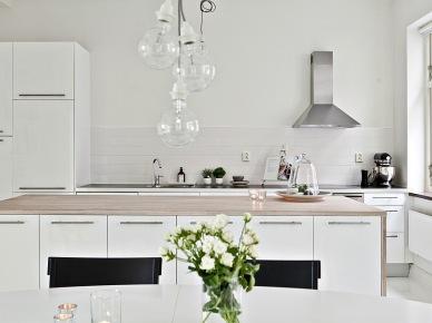 Prosta, minimalistyczna , biała kuchnia (18393)