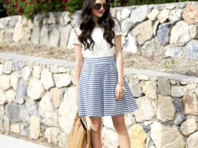 Spódnica w paski - idealna stylizacja do pracy na letnie dni:)