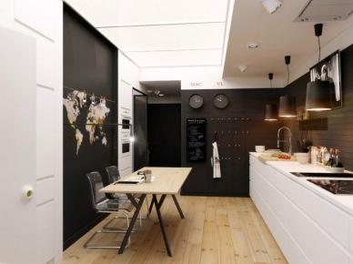 Czarne ściany w białej kuchni z drewnianą podłogą (20845)