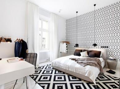 Wzorzyste dodatki do białej sypialni (49041)