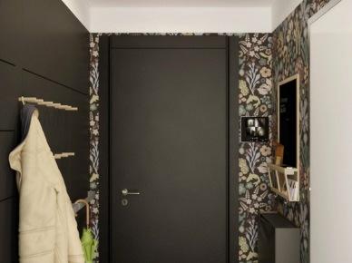 Kwiatowa tapeta w czarnym korytarzu (20843)