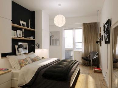Aranżacja sypialni z czarną ścianą we wnęce z półkami (20850)