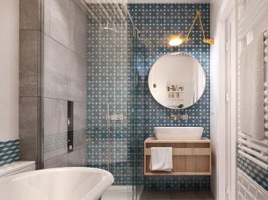 Szara a`la beton i turkusowa płytka na ścianie w łazience z okrągłym lustrem   i drewnianą szafka pod umywalką (24814)