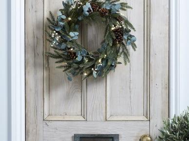 Zielono-błękitny wianek na drzwi wejściowe do domu (47788)