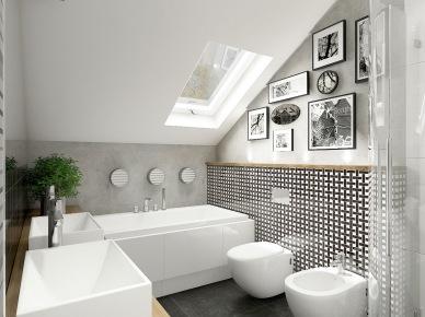 Biało-czarna glazura w drobne wzory na scianie w łazience ze skośnym dachem,grafitowo-szara posadzka,drewniana szafka z umywalką i galeria czarno-buiałych fotografii na ścianach (26031)