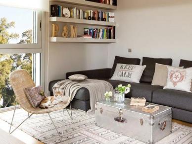 Fajny salon - połączenie nowoczesności i kilku klasyczny elementów jak np. skrzynia...