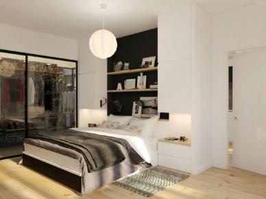 Biało-czarna aranżacja sypialni z dużymi oknami (20849)
