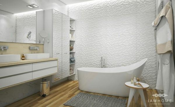 Strukturalne bia e ciany wolnostoj ca wanna zdj cie w for Photo salle de bain moderne blanche