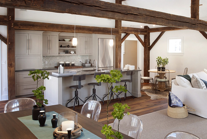 decoracion de interiores estilo rustico fotos : decoracion de interiores estilo rustico fotos:Otwarta kuchnia na salon i jadalnię z dekoracyjnymi belkami z drewna