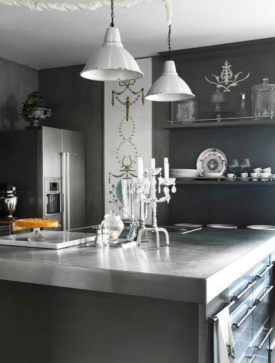 Nowoczesna grafitowa kuchnia w stylowej oprawie  zdjęcie   -> Kuchnia Nowoczesna Grafitowa