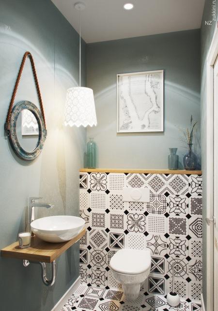 Wzorzyste Płytki W Aranżacji Małej łazienki Zdjęcie W