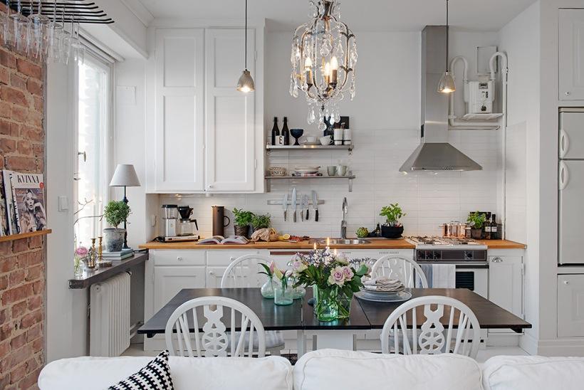 Biala Kuchnia W Stylu Skandynawskimaranżacja Zdjęcie W