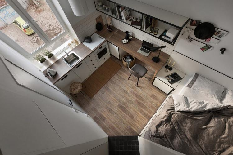 Jak urządzić bardzo małe mieszkanie, czyli pomysł na aranżację kawalerki o pow... 18 m2!