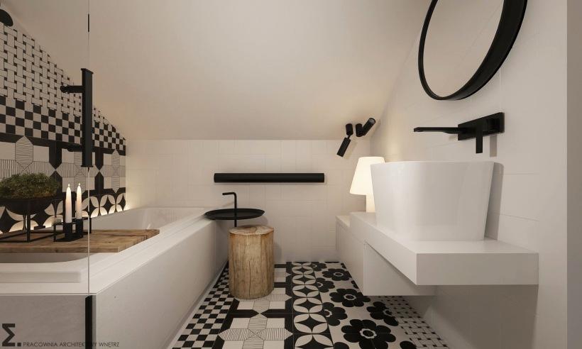 Biało Czarna łazienka Na Poddaszu Zdjęcie W Serwisie