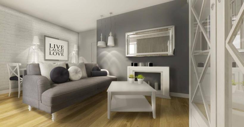 Białe Meble I Szara Sofa W Salonie Zdjęcie W Serwisie Lovingitpl