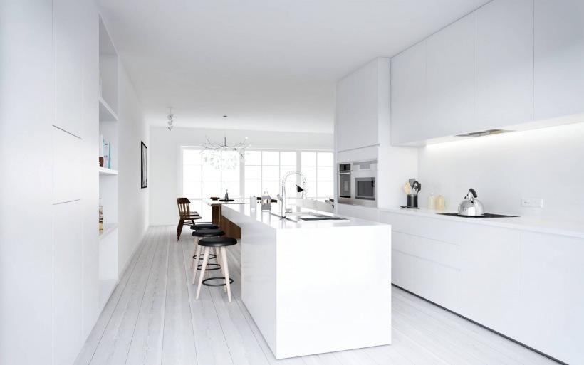 Minimalistyczna Biała Kuchnia Z Kuchenną Wyspą Zdjęcie W