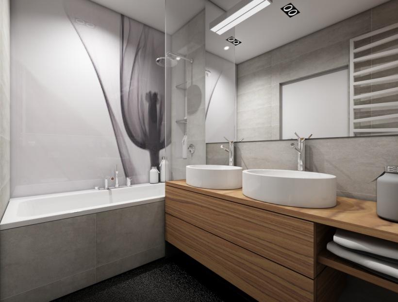 Nowoczesna łazienka Z Wanną Z Panelem Szklanym Zdjęcie W