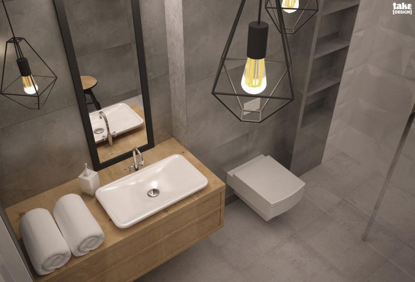Aranżacja Szarej łazienki Z Oryginalnymi Lampami Zdjęcie W