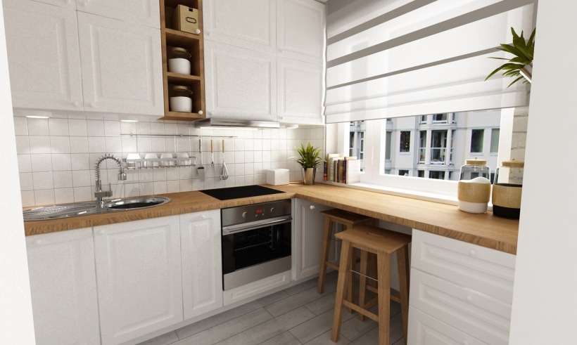 Aranżacja Białej Kuchni Z Drewnem Zdjęcie W Serwisie