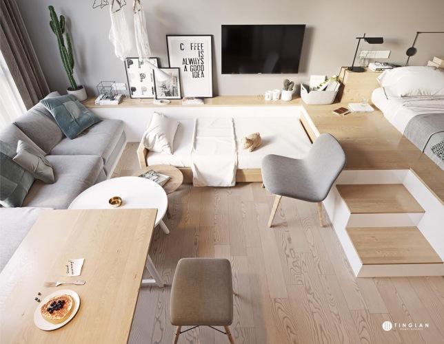Aranżacja małego mieszkania z otwartą przestrzenią i ukrytym dodatkowym łóżkiem dla gości