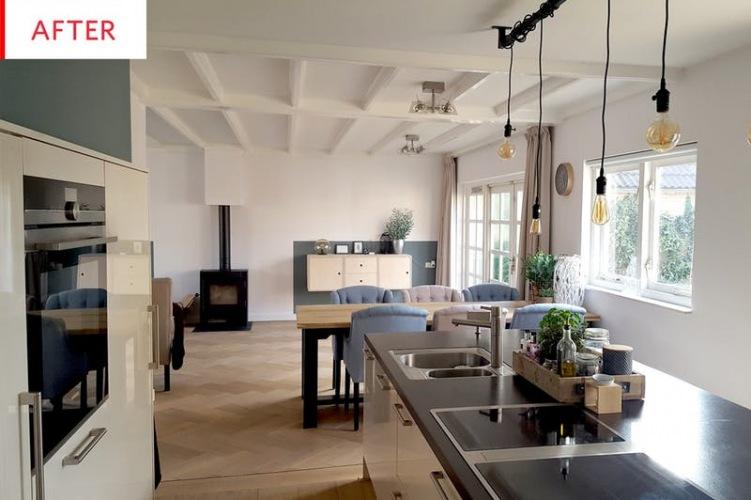 Before & after salonu z kuchnią i jadalnią, czyli oryginalna aranżacja z drewnianą podłogą w jodełkę
