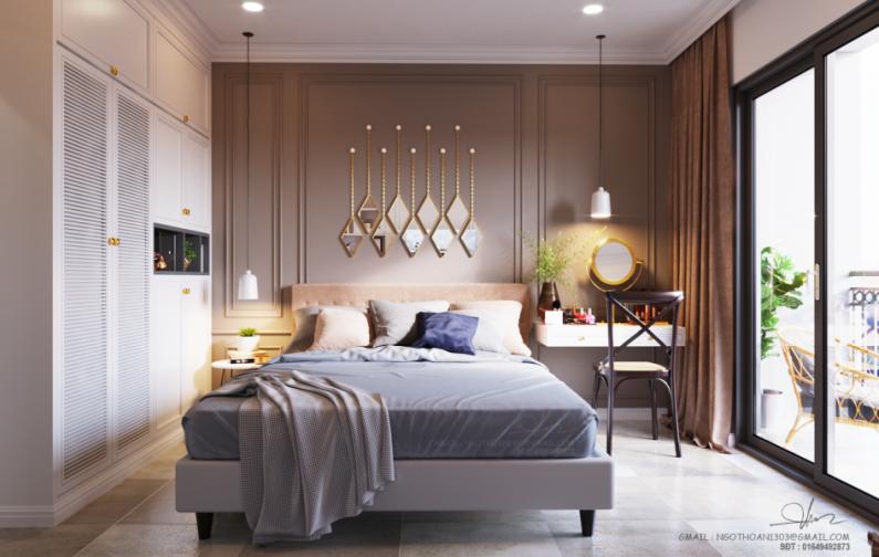 Elegancka Aranżacja Sypialni Ze Złotymi Lustrami Na ścianie