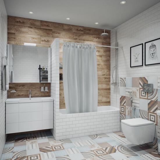 Drewno Na ścianie I Wzorzysta Podłoga W łazience Zdjęcie W