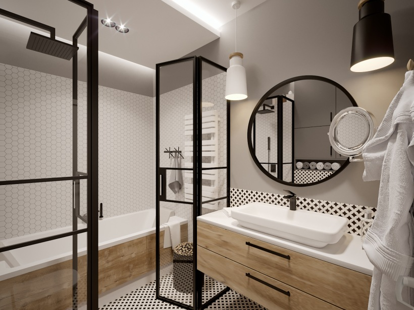 Szara łazienka Z Czarnymi Dodatkami I Drewnianą Zdjęcie W