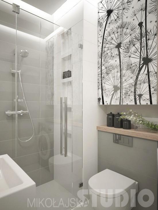 Biało Szara łazienka łazienka Z Motywem Kwiatowym Zdjęcie W