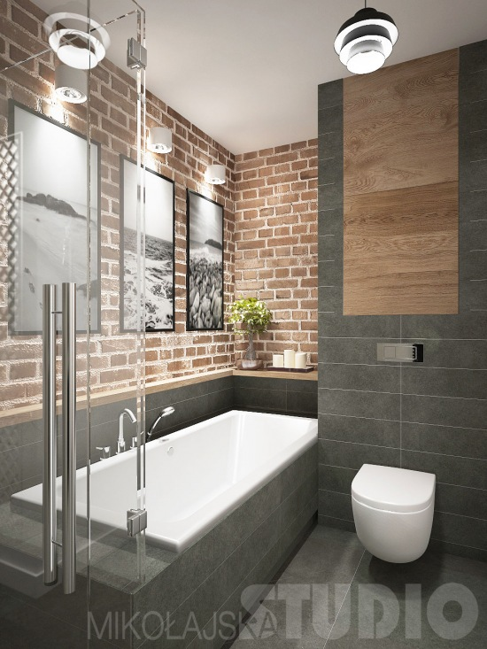 łazienka W Stylu Loft Z Czereoną Cegłą Na Zdjęcie W