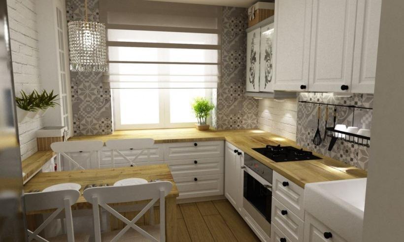 Biel I Drewno W Aranżacji Kuchni Zdjęcie W Serwisie