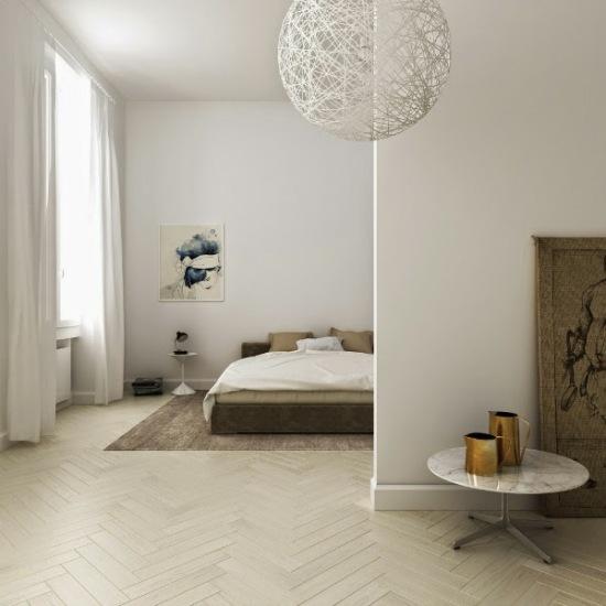 Biało Beżowa Sypialnia W Otwartym Widoku Zdjęcie W