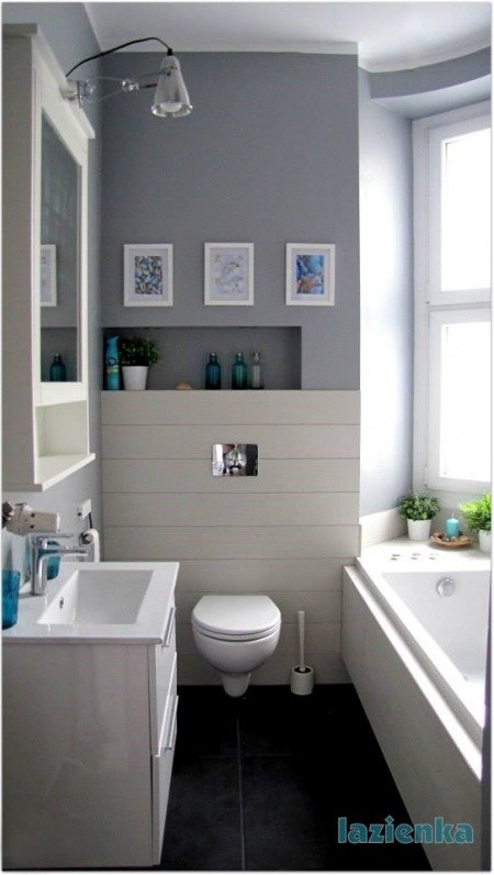 Dekoracje W Biało Szarej łazience Zdjęcie W Serwisie