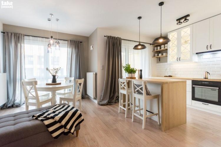 Inspirujące mieszkanie o powierzchni 70 m2 z otwartą kuchnią z wyspą