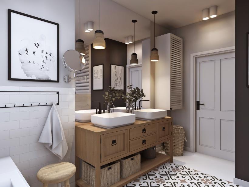 Projekt łazienki Z Dużym Lustrem I Drewnianą Zdjęcie W