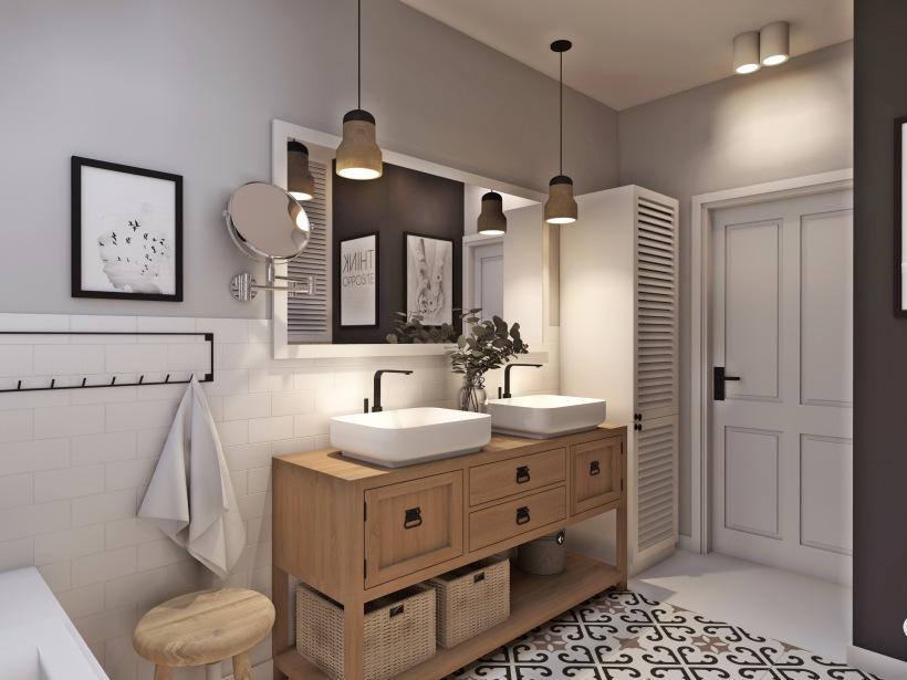 Drewniana Szafka Z Dwoma Umywalkami W łazience Zdjęcie W