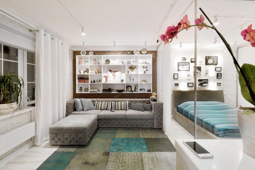 Nowoczesny Salon Razem Z Sypialnią Oddzieloną Zdjęcie W